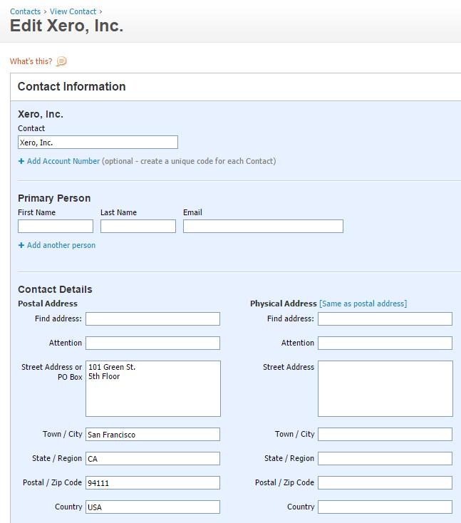 Contact information in Xero